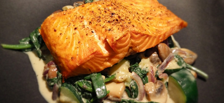 Versatile Creamy Spinach with Broiled Salmon