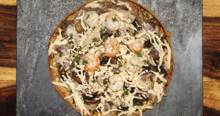 Shrimp and Basil Pesto Flat-bread Pizza