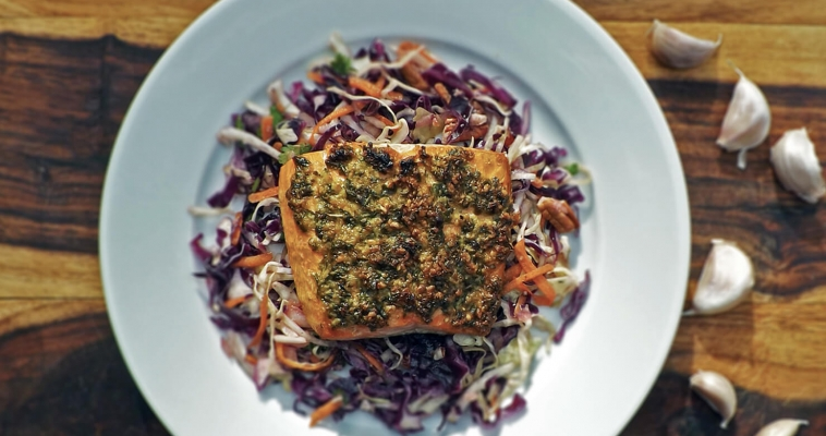 Pesto Salmon with Clean Cabbage Slaw
