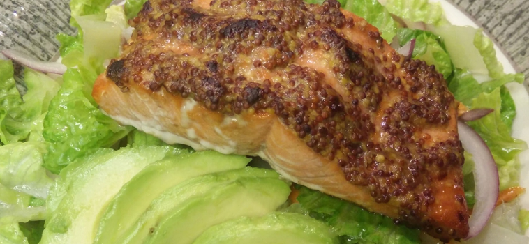 Wholegrain Mustard Crusted Salmon Salad